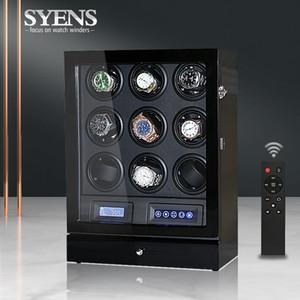 relógio automático de luxo enrolador 9 relógios caixa com cor preto e modo de contorl TPD exibição shaker relógio de madeira caixa de enrolamento