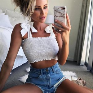 Ruched Tank Top Lettuce Edge Elastic Camis 5 colors Summer Autumn Tube Crop Top Womens Bow Tie Strap