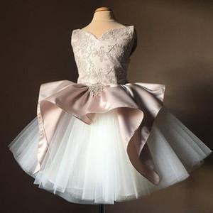 2019 Blush Pink and White Flower Girls Dresses Vestido de fiesta Short Tulle Puffy Tutu Falda Niñas Vestidos de desfile para cumpleaños