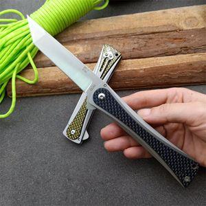 Nova Bearing Chegada Bola Flipper faca dobrável D2 Stone Wash Tanto Fibra de Carbono Lâmina + Aço Inoxidável Pega EDC Canivetes