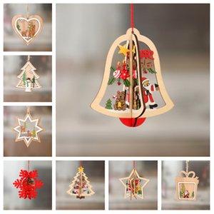 Albero di Natale decorazioni in legno Hollow fiocco di neve Snowman campana appesa decorazioni colorate ornamentsT2I5337 finestra di casa Ornamenti di Natale