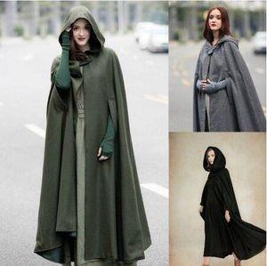 Kadın Cape Kapşonlu Cloak Katı Renk Hırka Uzun Coats cutton Blend Dış Giyim Bayanlar cloting Gevşek Cloaks