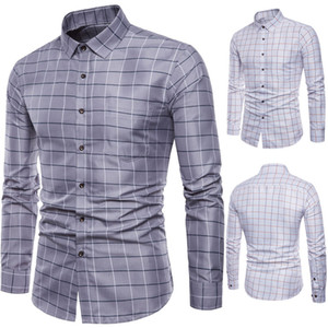 Marca camisa de manga longa Dos Homens de Manga Longa Oxford Formal Casual Xadrez Slim Fit Camisas de Vestido Top camisa masculina chemise homme M-5XL
