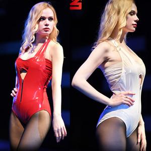 Plus Size PVC Profundo Decote Em V Brilho Latex Catsuit Bodysuit Branco Com Zíper Frontal Aberto Bodystocking Sexy Hot Erótico Sukumizu Swimwear