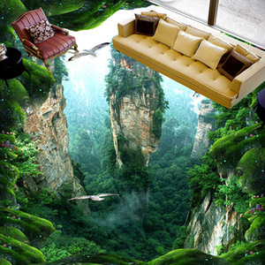 Custom 3D Mural Floor Wallpaper Cliff Scenery PVC Wear Waterproof For Bathroom 3D Floor Wall Stickers Vinyl Kitchen Wall Paper