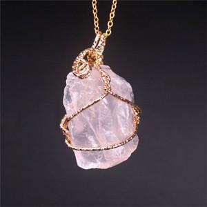 donne ciondolo di cristallo filo irregolare naturale collana di pietra irregolari quarzo della pietra preziosa collane monili volontà e regalo di sabbia