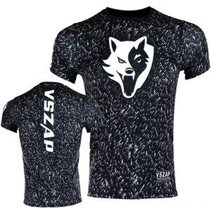 VSZAP Бокс Compression Tshirts Quick Dry MMA Rashguard Short бокс Wear Спортивной Открытая одежда рукав высокой эластичность жестких мужские TSH