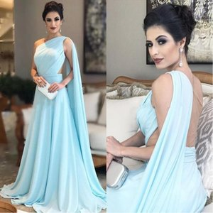 One Shoulder Light Sky Blue Evening Dresses 2019 Pleated Chiffon Illusion Back Floor Length Saudi Arabic Prom Dresses Bridesmaid Gowns