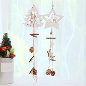 Star Wood Natal Pingentes Pine Cone ornamentos de madeira árvore de Natal Gota Ornamentos Xmas Decoração decoração para a casa