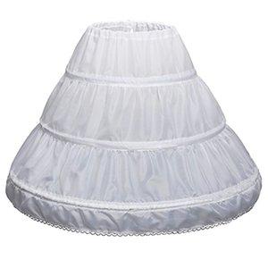 3 Three Hoops Kids Crinoline A Line Lace Trim White Children Petticoat for Flower Girl Dress Underskirt Elastic Waist Full Slip