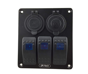 3Gang Rocker Switch Panel with Power Socket 3.1A Dual USB Wiring Kits for Marine Boat Car Rv Vehicles Truck Blue led
