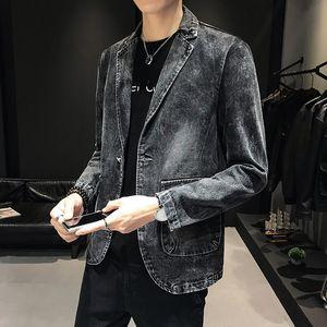 YASUGUOJI нового способа Mens Denim Blazer Men Vintage костюм куртка мужчина Синий Черный пиджак Мужчины Тонкий Fit джинсы полуофициальный Пиджаки