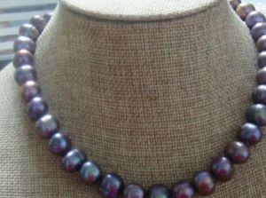 collana Spedizione gratuita ++++ Miss charm Jew1900 STAINING 12-13 MM TAHITIAN BLACK RED PEARL NECKLACE