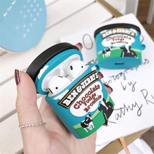 Marka BenJerry Çikolata Dondurma AirPods için durum 1 2 Pro şarj kutusu yumuşak silikon Kablosuz bluetooth Rozetli kulaklık koruma kapağı