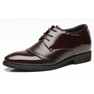 Echte Leder-Schuhe Herren Formeller Aufzug Schuhe für Herren-Leder-Kleid-Schuh-spitze Zehe-Schnürung Höhe zunehmenden 6 cm Mens Hochzeit Schuh