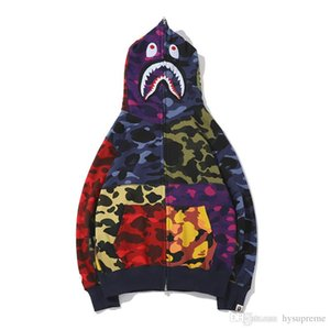 Любовник Color Camo сращивания Повседневный свитер с капюшоном Мужские Camo Повседневная Полный Zipper толстовки куртки Бесплатная доставка