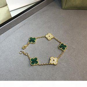 Hot Brand 925 Sterling Silver Wedding Jewelry Set For Women Gold Color Necklace Green Clover Leaf Necklace Earrings Bracelet Set