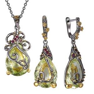 Hermosa Neaklace / Aretes 2 piezas Set Big Tea drop Olivine Stone Jewelry Sets Joyas de cristal para las mujeres