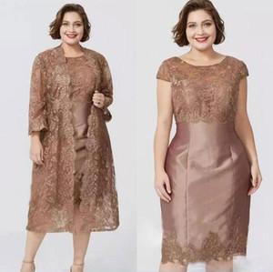 Hot vente dentelle mère de la mariée robes avec manches longues vestes robes de soirée longueur genou taffetas pas cher gaine de mariage robe