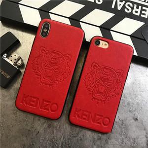 디자이너 가죽 전화 케이스 IphoneXSMAX XR XS / X 7Plus / 8Plus 7/8 패션 호랑이 머리 스탬핑 새로운 브랜드 보호 다시 커버 도매