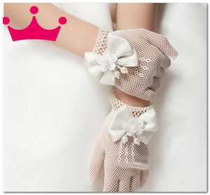 Sweet Girls lace hollow white gloves boutique kids wedding princess accessories children stereo beaded flowers Bows finger gloves J2893
