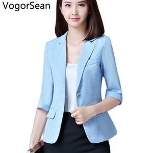 VogorSean نساء الرسمية الحلل الأساسية الستر ربيع الخريف المرأة الجديدة نصف كم سليم معطف سترات القمم دعوى للحصول على عمل