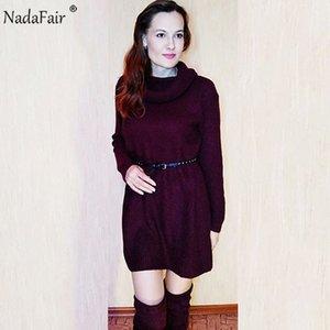 Tamaño mayor-Nadafair cuello alto Plus otoño mujeres se visten de invierno sólido suelto Mini informal suéter de punto de vestir Mujer largo Pullover