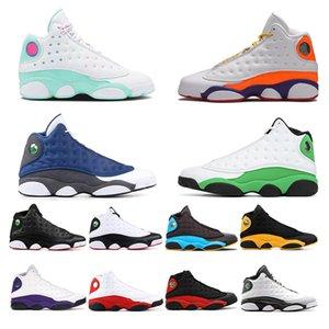 Nike Air Jordan Retro Aurora Grüne Spielplatz Flint 13s Top-Qualität Jumpman 13 Männer Frauen Basketball-Schuh-Bred Luky GREEN Kappe und des Kleides Sport-Turnschuhe