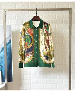 Motif Vintage Chemisier imprimé Chemises Femme Printemps Eté à manches longues en vrac Marque 2020 Mesdames Tops Nouveau