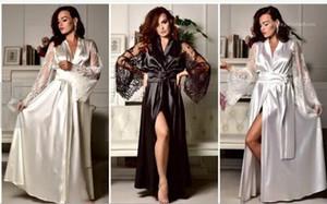 Ice Silk Pijamas Designer V Neck Moda Painéis solto Ladies Verão Sexy Lace Robes Casual Sexy Imitation