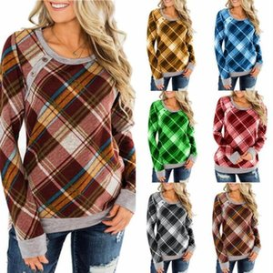 Karierte Hemden Frauen prüfen lässige T-Shirts Mädchen Grid Langarmshirts Herbst O Ansatz Blusas Print-Taste Pullover Hoodies Kostüm Vestidos C6512