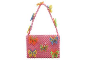 Beliebte Bead-Tasche Regenbogen handgewebte Perlen-Berühmtheits-Handtaschen einzigartige Design Bunte Damen-Partei-Beutel Totes Acryl-Abend-Partei