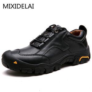 MIXIDELAI Durable Mens Sicherheitsschuhe echtes Leder Oxford Schuhe wasserdichte Freizeitschuhe für Männer Komfortabler Arbeits Turnschuhe männlich CJ191217