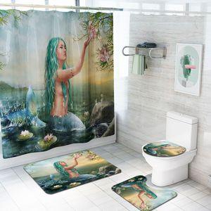 2020New 인어 인쇄 샤워 커튼 고급 욕실 샤워 커튼 카펫 바닥 매트 4 종 세트 조합 욕실 매트 세트