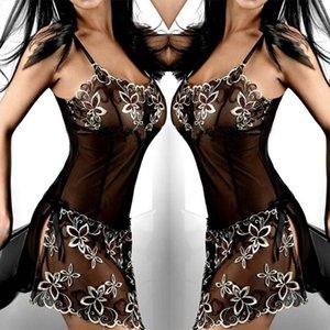 Más el tamaño M-6XL resbalones suave cordón de las señoras suelta la ropa de noche de malla semitransparente de la ropa interior del camisón floral completa resbalones alta calidad