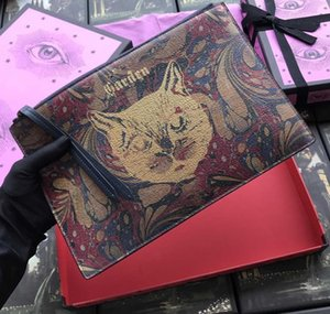 En kaliteli poşetin Mavi kutu W30 * h20 ile kadın ve erkek gerçek deri İş kart sahipleri cüzdan için altın kedisi tasarımcısı grafiti