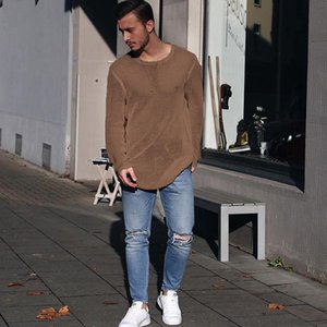 Tricoté Pull Sweater Couleur Match Casual Match Mens chute T-shirts Tops Long Simple Tees Solid Automne Designer CVPVT
