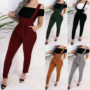 2020 Nouvelle arrivée femmes Pantalons Pocket taille haute Ceinture Baggy Salopette Pantalon Skinny Crayon Femme élégante Slim long Salopette