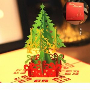 Merry Christmas Gift Cards 3D Xmas Tree Laser Pop Up Folding Type Greeting Card For Navidad Natal New Year Party Favors cards