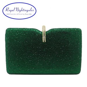 Royal Nightingales Hard Box Clutch Crystal Evening Bags and Handbags for Womens Party Prom Emerald Dark Green CJ191209