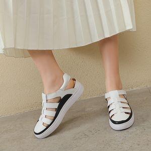 YMECHIC 2020 Summe nuevas sandalias de plataforma informales blancas negras Roma zapatos de mujer plataformas planas hebilla sandalias de gladiador mujeres diarias