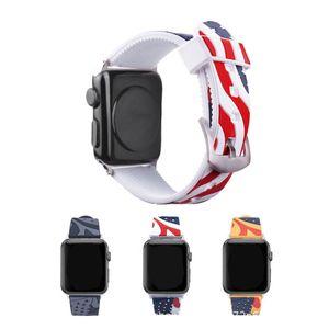 Pour la bande montre de pomme 42mm 38mm Drapeau Rétro Bracelet en silicone Mode Sport Montre intelligente de remplacement pour Wristband iWatch 1/2/3/4