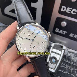 Luxo de alta Qualidade NOMOS Glashutte TANGENTE 180 White Dial Mecânico Automático Mens Watch Prata Caixa de Aço Prata Pulseira de Couro Senhores Relógios