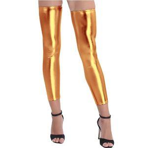 1 paire de femmes Wetlook brillant métallique extensible sans pied cuisse-haut Costumes Collants Bas pour Sexy soirée Party Club Stocking