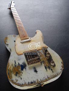 Супер Редкие Masterbuilt Тяжелая Relic Белая крышка Черный Синий Tele электрическая гитара Maple Neck грифе, тремоло, Vintage Тюнеры