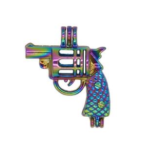 REYOW 5pcs Gaiolas Rainbow Color Revólver Gun Bead pérola Locket Pingente Essential Oil Difusor Craft fazer jóias DIY