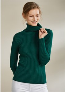 Women Designer Sweater Thick Turtle Neck Long Sleeve Ladies Slim Sweaters Casual Solid Color Female Clothes
