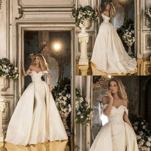 2020 Mermaid Wedding Dresses With Detachable Train Off-shoulder Bridal Gown Appliqued Lace Sweep Train Custom Made Cheap Robes De Mariée