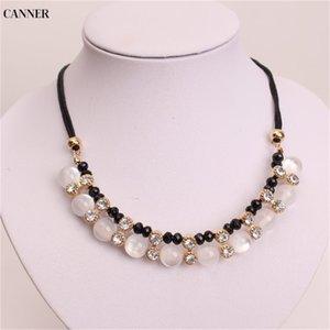 Cadena envasador Crystal Rhinestone Collares Oro Negro del grano corto regalo de las mujeres para el collar Gargantilla