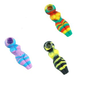 Wholesale Silicone Smoke Hand Pipe Mini Sexy Woman Bubbler Water Pipe Bong With Glass Bowl Free Shipping